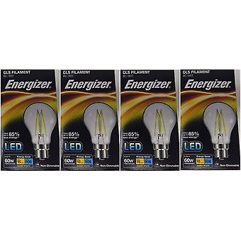 4 X Energizer 6.2W = 60W LED filamento GLS bombilla lámpara Vintage BC B22 bayoneta tapa [clase energética A +]