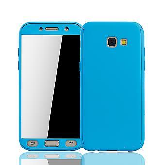 Samsung Galaxy A5 2017 Handy-Hülle Schutz-Case Cover Panzer Schutz Glas Hellblau