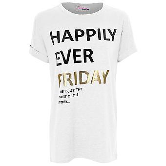 Naisten lyhythihainen onneksi koskaan perjantai tulostaa venyttää vapaa Naisten Top t-paita