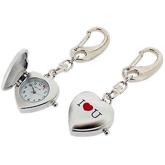 Gift van tijd producten ik hou van U hart klok Key Ring - Zilver