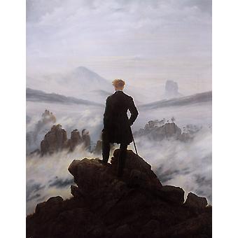 Wanderer katsomassa meri sumu, Caspar David Friedrich, 50x40cm