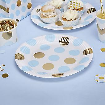 Party Plates Blue and Gold Dots Birthday / Christening / Baby shower x 8
