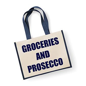 Large Jute Bag Groceries And Prosecco Navy Blue Bag