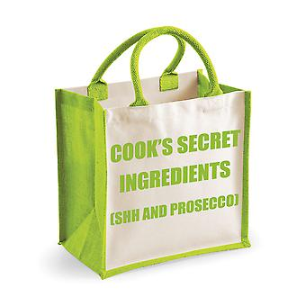 Medium Green Jute Bag Cook's Secret Ingredients (Shh and Prosecco)