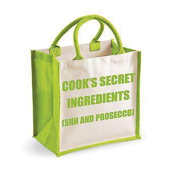Közepes zöld juta Bag Cook ' s titkos hozzávalók (SHH és Prosecco)