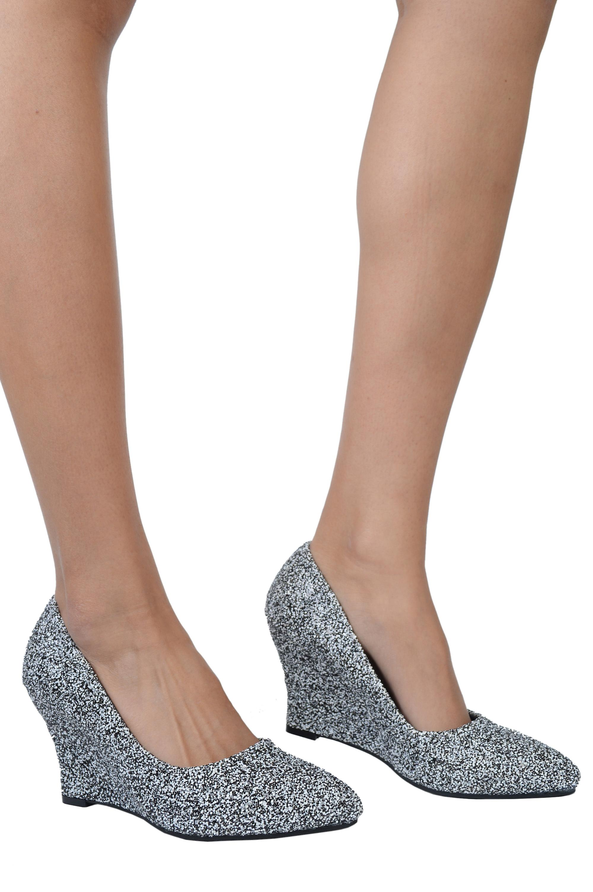 Lovemystyle Black, White and Silver Mixed Glitter Wedges