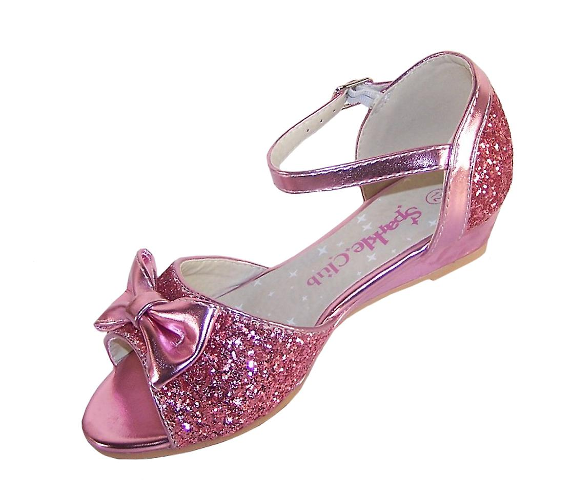 Girls pink sparkly glitter wedge sandals