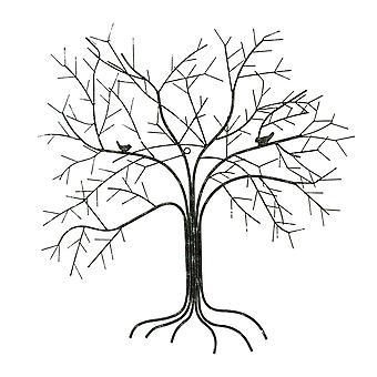 الطيور في شجرة معدن أسلاك الجدار فن النحت