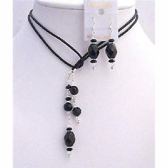 Læder Lariat halskæde & halskæde sort Briollete klare krystaller sæt