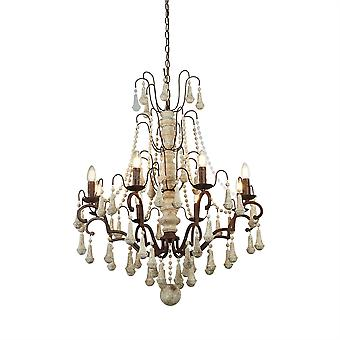 Dauphin Rustic Brown Eight Light Ceiling Light - Searchlight 6938-8BR