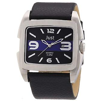 Just Watches 48-S3353-BL-men's wristwatch, leather, color: black