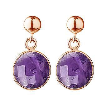 Gemshine örhängen violett ametist ädelstenar-925 silver, guldpläterad eller ros