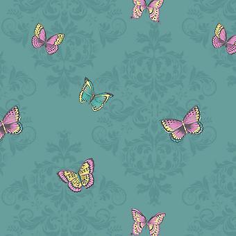 Glitter Butterfly damast behang Sparkle Teal roze gele bloemen Holden decor