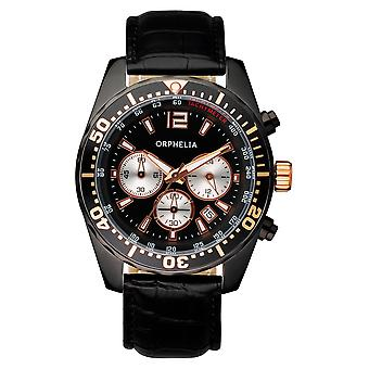 ORPHELIA Mens Chronograph Watch intens zwart leer 153-6901-44
