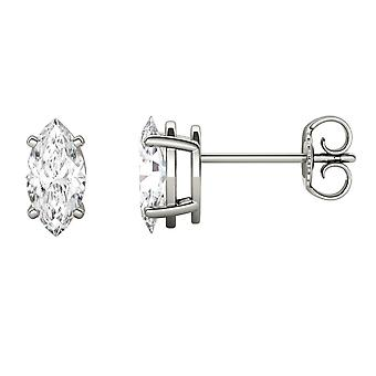 14K White Gold Moissanite by Charles & Colvard 8x4mm Marquise Stud Earrings, 1.00cttw DEW