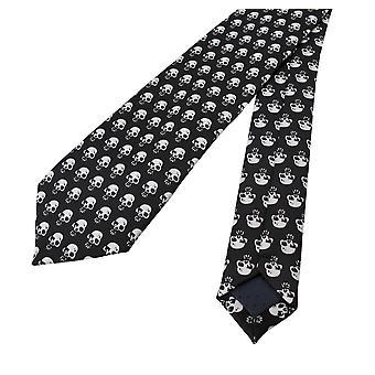 Gotiske svart / hvit Skull Print slips slips
