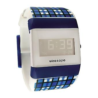 Wize and Ope Postal  White and Blue Digital  Watch WO-OP-3