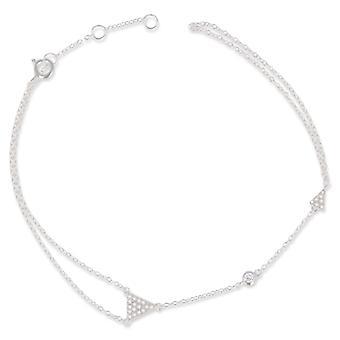 Rhodié Silver Bracelet With Zirconia 18cm
