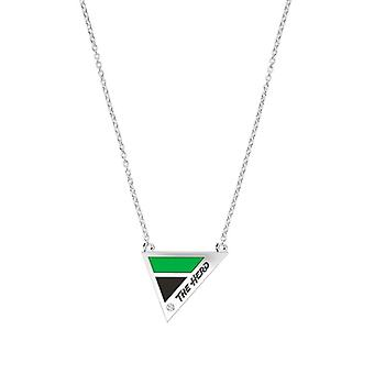 Marshall University Engraved Sterling Silver Diamond Geometric Necklace In Green & Black