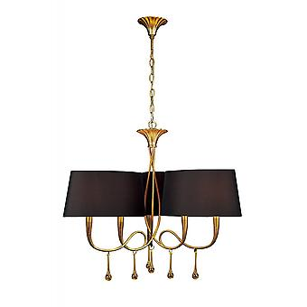 Mantra Paola Pendant 3 Arm 6 Light E14, Gold Painted With Black Shades & Amber Glass Droplets