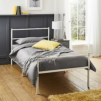 Extra Strong Single Metal Bed Frame In White