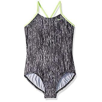Nike Swim Big Girls' Crossback One Piece Swimsuit, Black Rush, Black, Size Large