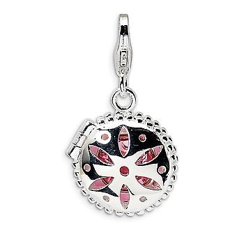 925 Sterling Silver Polished Moveable Rhodium plated Fancy Lobster Closure Crystal Enamel Compact With Lobster Clasp Cha
