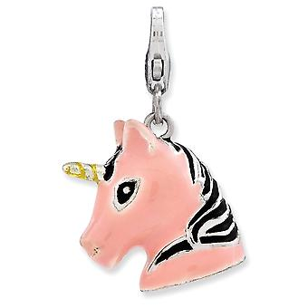 925 Sterling Silver Rhodium plated Fancy Lobster Closure 3 d Enameled Unicorn Head With Lobster Clasp Charm Pendant Neck
