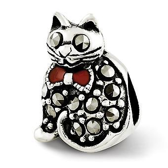 925 Sterling Silver Polished Antiquário Reflexãos Marcasite e Enameled Cat Bead Charm Pingour Piny Joias G