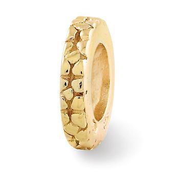 925 סטרלינג כסף מלוטש 14k מצופה זהב הרהורים הפרחים מרווח פרחוני חרוז תליון קסם שרשרת תכשיטים מתנות עבור Wom