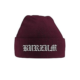 Burzum Beanie Hat Grey Band Logo new Official Maroon Embroidered