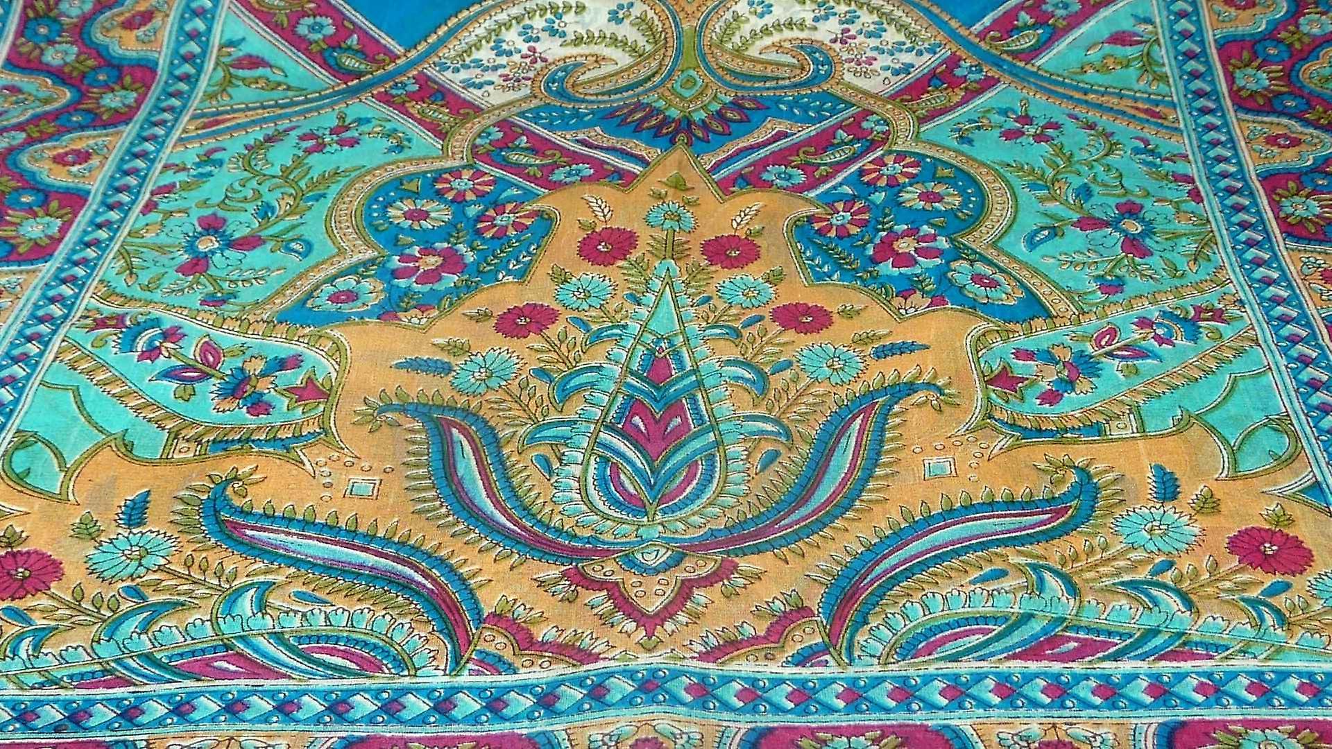 Mulberry Silk Traditional Long Scarf  Kalyan Aqua by Pashmina & Silk