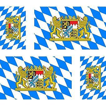 4 X Sticker Sticker Car Motorcycle Valise Flag R2 Bavarian Baviere Flag