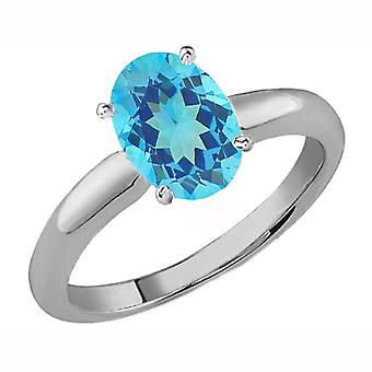 Dazzlingrock Collection 14K 8X6 MM Oval Cut Blue Topaz Ladies Solitaire Bridal Engagement Ring, White Gold