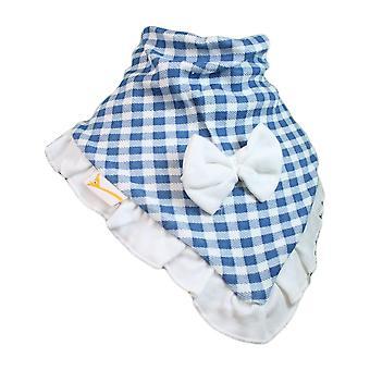 Blå & vit rutig cutie krage bandana bib