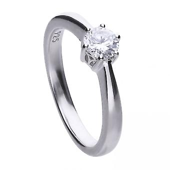 Diamonfire Silver White 6 Claw Solitaire Zirconia Ring R3618