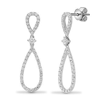 Jewelco London Ladies Solid 18ct White Gold Pave Set Round G SI1 1.01ct Diamond Infinity Style Drop Earrings