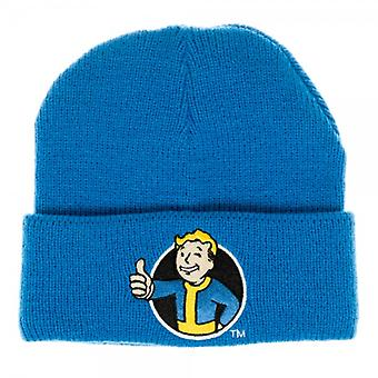 Beanie Cap Fallout Vault Boy Blue Single Layer Cuff Licensed kc4195fot