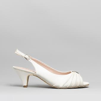 Comfort Plus Tess Ladies Wide Fit Slingback Satin Shoes Ivory
