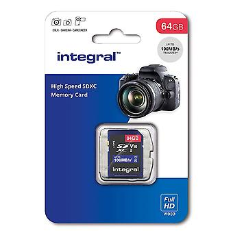 Integral 64GB SD card High Speed memory SDXC Up to 100MB/s V10 (INSDX64G10)