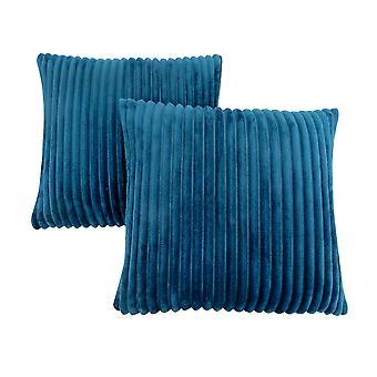 "18"" x 18"" Blue, Ultra Soft Ribbed Style - Pillow 2pcs"