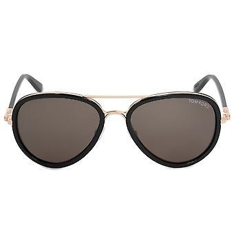 Tom Ford Miles Pilot Sunglasses FT0341 28J 55 | Black and Gold Frame | Grey Lenses