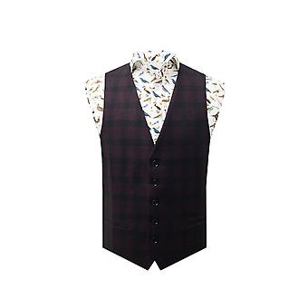 Dobell hombres Borgoña chaleco Slim Fit Gingham Cheque