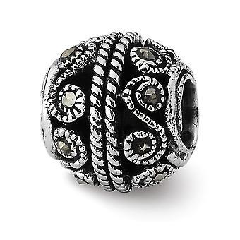 925 Sterling Silver finish Reflektioner Marcasite Bali Pärla Charm Hängande Halsband Smycken Gåvor för kvinnor