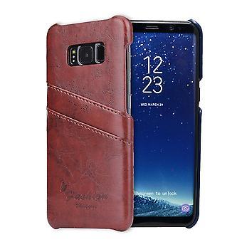 Para Samsung S8 Plus Brown Deluxe Leather Flip Wallet Phone Case, Caso à prova de choque