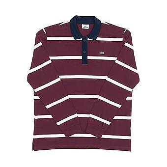 Bordeaux Lacoste men's long-sleeved polo shirt