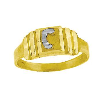 10k Two tone Gold baby voor jongens of meisjesLetter Naam Gepersonaliseerde Monogram Initial C Band Ring Measures 6.3x2.50mm Wide S