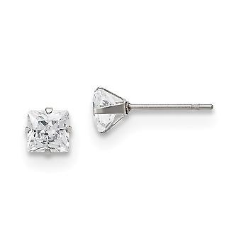 Aço inoxidável Polido 5mm Quadrado CZ Zircônia Cúbica Simulado Diamante Post Brincos Joias Brindes para Mulheres