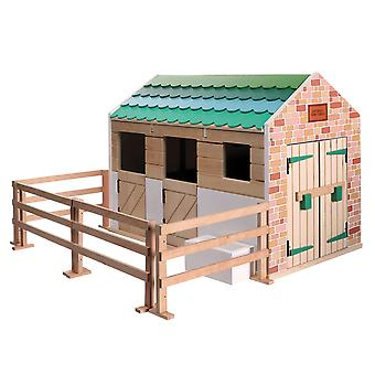 Lottie Playset Stable, made with wood and child friendly colours to play dolls
