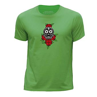 STUFF4 Boy's Round Neck T-Shirt/Black Candy Skull/Green